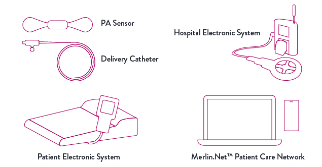 Outlines of CardioMEMS HF System components: PA sensor, delivery catheter, hospital electronic system, patient electronic system, Merlin.net Patient Care Network
