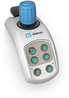 Wireless table side controller used in Abbott's OCT intravascular imaging.