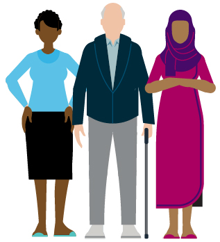 Illustration of three individuals of different ages, ethnicities and genders.