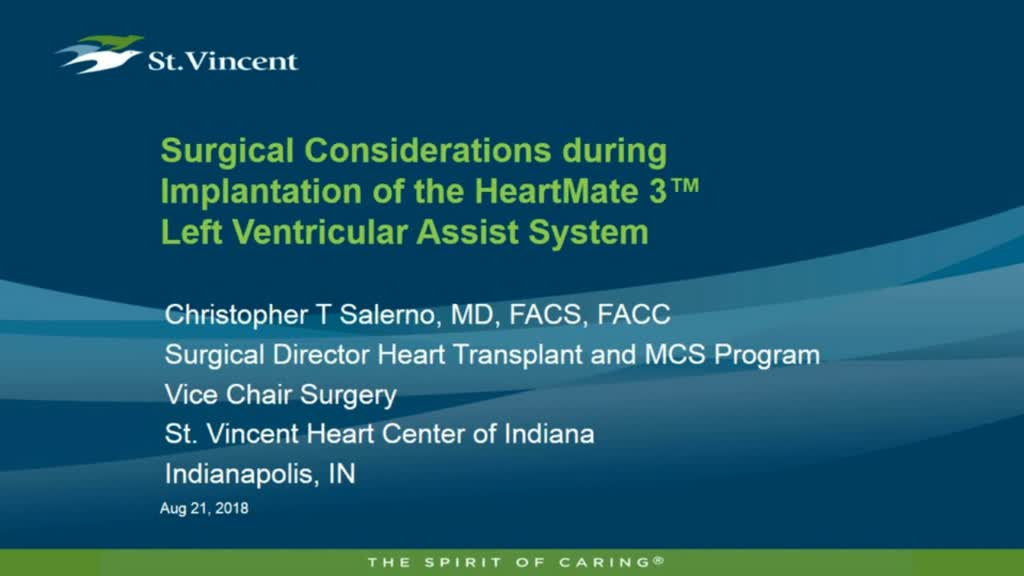Surgical Considerations During Implantation of the HeartMate 3 Left Ventricular Assist System