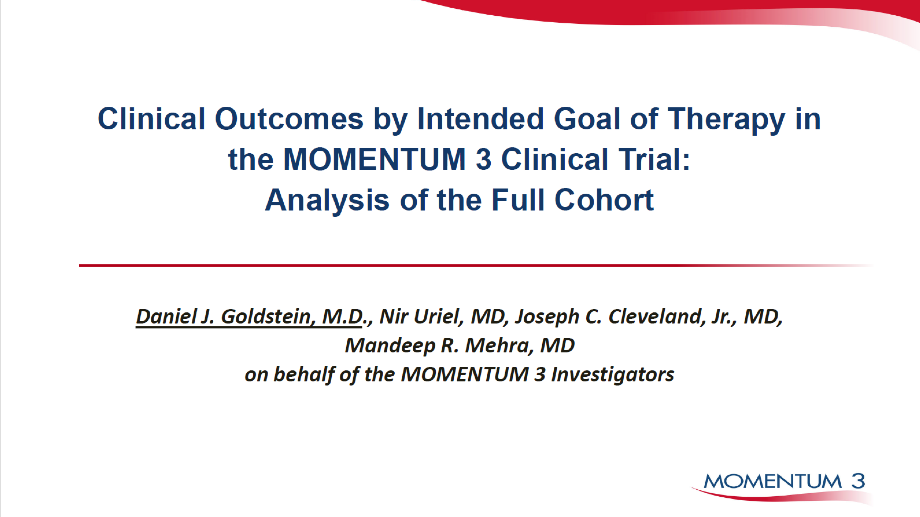 CLINICAL OUTCOMES BY INTENDED GOAL OF THERAPY IN THE MOMENTUM 3 FULL COHORT