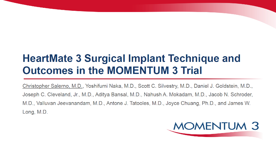 HEARTMATE 3 SURGICAL IMPLANT TECHNIQUE AND OUTCOMES IN THE MOMENTUM 3 FULL COHORT