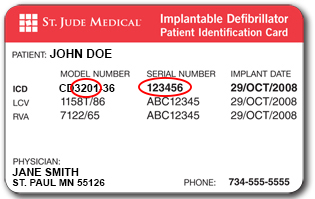 a patient ID card