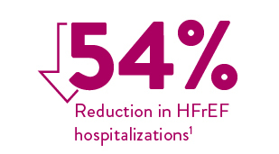 54% reduction in HFrEF hospitalizations